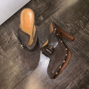 Brown suede clogs